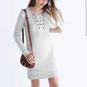 Madewell lace-up sweater dress